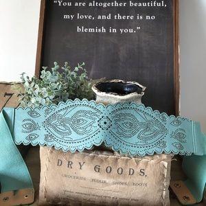 Accessories - Aqua turquoise stretch belt Boho style